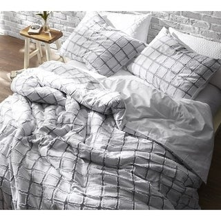 Frayed Edgings Duvet Cover - White/Gray