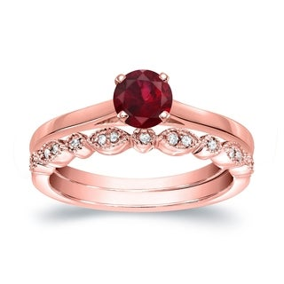 Auriya 14k Gold Stackable Vintage 1/3ct Red Ruby Solitaire and 1/6ct. TDW Diamond Engagement Ring Set