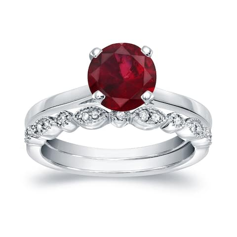 Auriya 1ct Solitaire Red Ruby Engagement Ring Set 1/6ctw 14k Gold Vintage Stackable