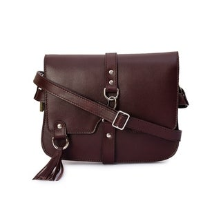 Handmade Phive Rivers Women's Burgundy Leather Tassel Crossbody (Italy)