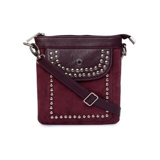 Phive Rivers Women's Leather Crossbody Bag (Burgundy)