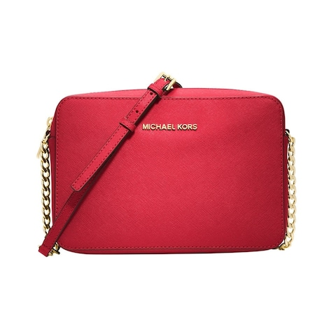 c978998c822c MICHAEL Michael Kors Jet Set Large Saffiano Leather Crossbody Bright Red/silver  hardware