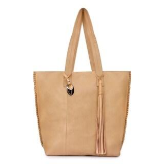 Women's Leather Tote Bag (Beige) - beige