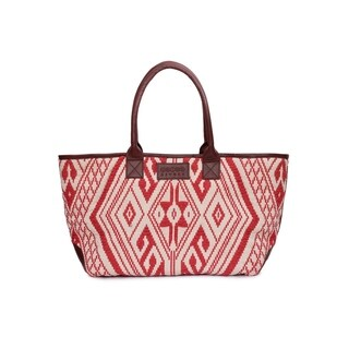 Women's Jacquard Fabric Tote Bag (Red) - RED