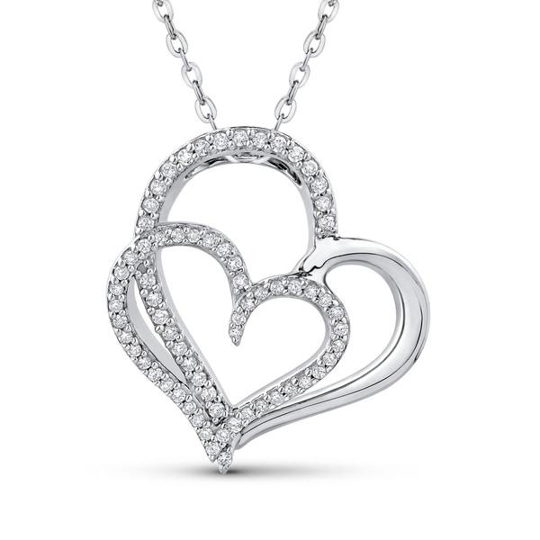 Shop 10K White Gold 1/5ct TDW Diamond Double Heart Pendant