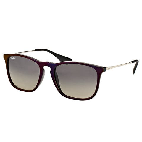 Ray-Ban Square RB 4187 631611 Unisex Red Black Frame Grey Gradient Lens Sunglasses