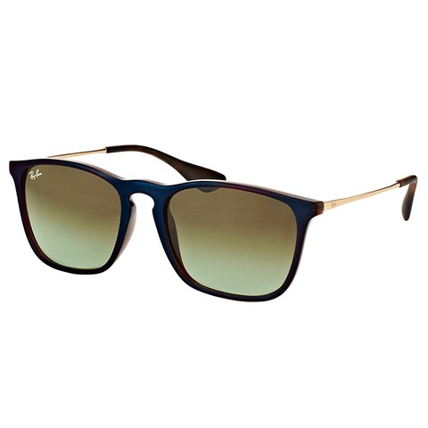 Ray-Ban Square RB 4187 6315E8 Unisex Blue Brown Frame Green Gradient Lens Sunglasses