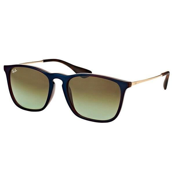 08b48a0cc6d Ray-Ban Square RB 4187 6315E8 Unisex Blue Brown Frame Green Gradient Lens  Sunglasses