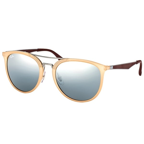 27d9f6f8daf85 Ray-Ban Square RB 4285 616688 Unisex Light Brown Frame Silver Mirror Lens  Sunglasses