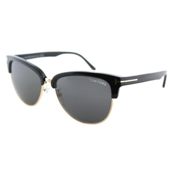 5dd1a33de8b Tom Ford Square TF 368 01A Unisex Shiny Black Gold Frame Grey Polarized  Lens Sunglasses