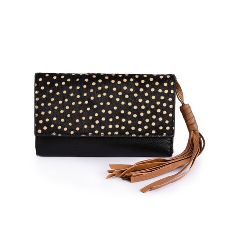 Women's Black Leather Tassel Clutch Wallet (Italy)