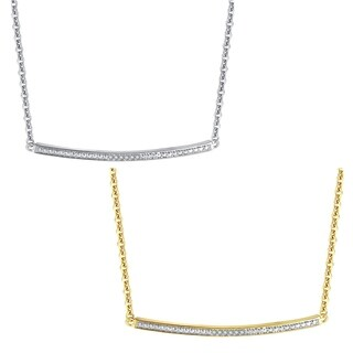 Diamond Accent Silver and Gold overlay Single Bar pendant(I-J,I3) - n/a