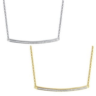 Diamond Accent Silver and Gold overlay Single Bar pendant(I-J,I3)