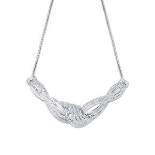 1/2ct T.W. Diamond Twisting Row Silver overlay Brass Necklace(I-J,I3)