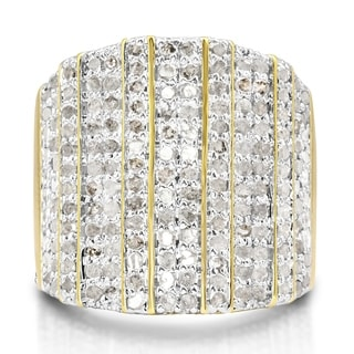 2 Carat 14-Row Diamond Band Ring In Yellow Gold Over Brass (J-K, I2-I3) - White J-K