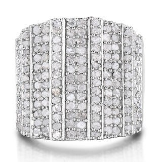 2 Carat 14-Row Diamond Band Ring In Platinum Over Brass (J-K, I2-I3) - White J-K