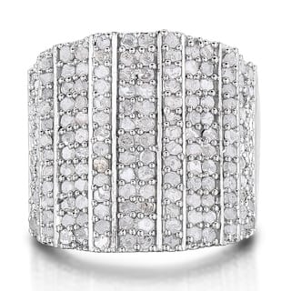 2 Carat 14-Row Diamond Band Ring In Platinum Over Brass (J-K, I2-I3) - White J-K|https://ak1.ostkcdn.com/images/products/17431869/P23666101.jpg?impolicy=medium