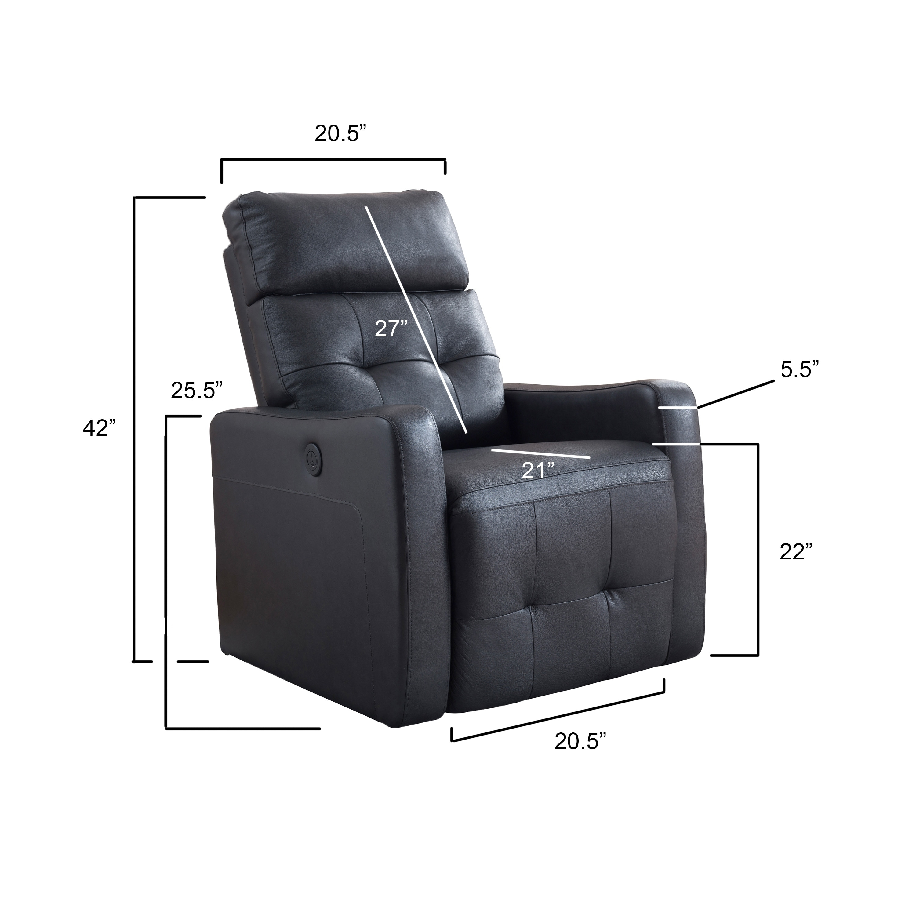 Terrific Ac Pacific Elsa Contemporary Living Room Power Recliner Leather Chair Ibusinesslaw Wood Chair Design Ideas Ibusinesslaworg