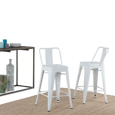 WYNDENHALL Josephine Industrial White Metal 24 inch Counter Height Stool (Set of 2) (As Is Item)