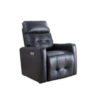 Anna Collection Adjustable Headrest Contemporary Leather Upholstered Living Room Power Recliner with USB