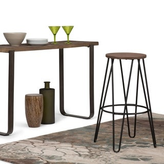 WYNDENHALL Kendall Industrial Metal 30 inch Bar Stool with Solid Wood Seat in Black, Cocoa Brown