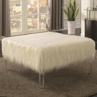 Square Furry Design Ottoman Bench with Acrylic Legs