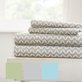 Merit Linens Puffed Chevron Pattern 4 Piece Bed Sheet Set