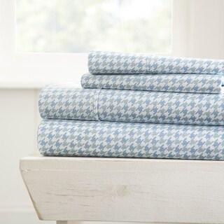 Merit Linens Ultra Soft Hounds Tooth Pattern 4 Piece Bed Sheet Set