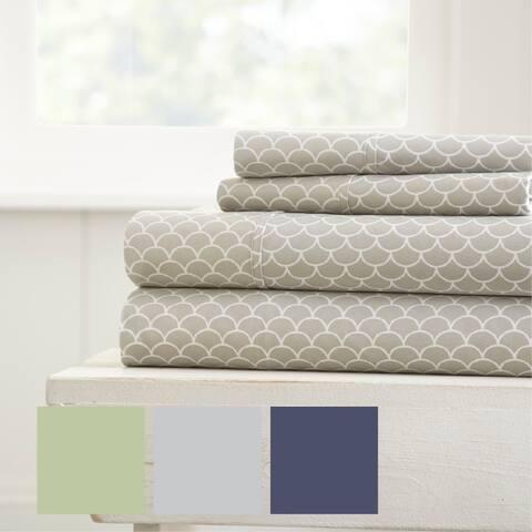 Merit Linens Premium Ultra Soft Scallops Pattern 4 Piece Bed Sheet Set