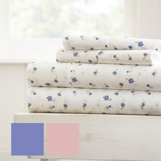 Merit Linens Premium Ultra Soft Floral Pattern 4 Piece Bed Sheet Set