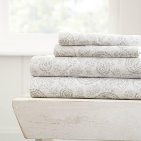 Merit Linens Coarse Paisley Pattern 4 Piece Bed Sheets Set