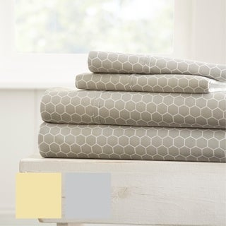Merit Linens Ultra Soft Honeycomb Pattern 4 Piece Bed Sheet Set