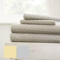 Merit Linens Ultra Soft Honeycomb Pattern 4 Piece Bed Sheet Set