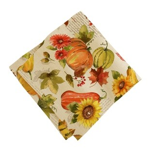 Grateful Season Set of 8 Print Fabric Napkins
