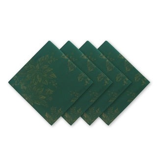 Metallic Holiday Set of 4 Fabric Damask Napkins