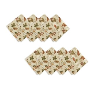 Swaying Leaves Harvest Set of 8 Print Fabric Napkins