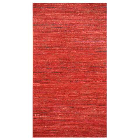 "Handmade Herat Oriental Indo Chenille Flatweave Contemporary Rug (India) - 2' x 3'8"""