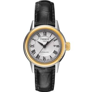 Tissot Women's T0852072601300 'T-Classic Carson' Automatic Black Leather Watch - Silver|https://ak1.ostkcdn.com/images/products/17432012/P23666201.jpg?impolicy=medium