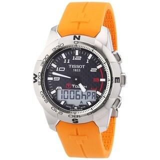 Tissot Men's T0474204720701 'T-Touch II' Analog-Digital Orange Rubber Watch - Black