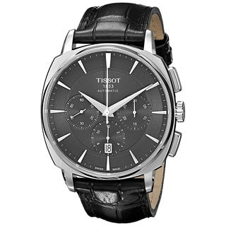 Tissot Men's T0595271605100 'T-Lord' Chronograph Automatic Black Leather Watch