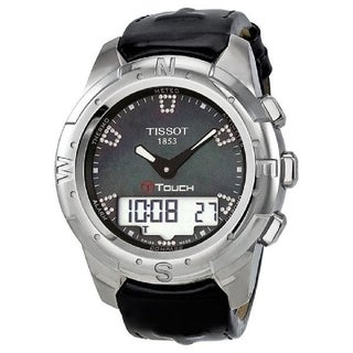 Tissot Unisex T0472204612600 'T-Touch II' Analog-Digital Diamond Black Leather Watch - Mother of Pearl