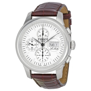 Tissot Men's T41131731 'Le Locle' Chronograph Automatic Brown Leather Watch - Silver