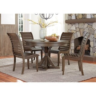 Bayside Crossing Adirondack Round Table And Wood Seat 5 Piece Set