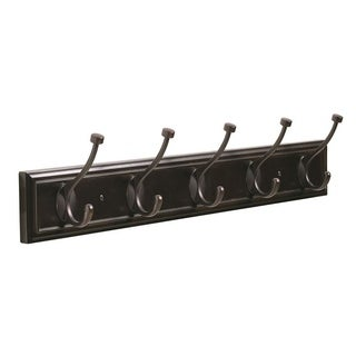 27 in (686 mm) 5 Hook Mahogany/Oil-Rubbed Bronze Hook Rack