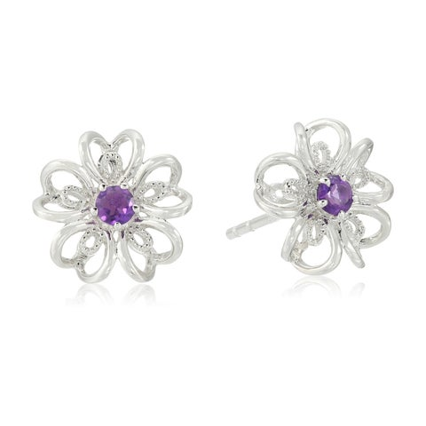 Pinctore Sterling Silver flower Stud Earrings in your choice of gemstone