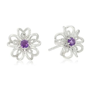 Sterling Silver flower Stud Earrings in your choice of gemstone