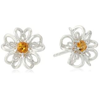 Pinctore Sterling Silver flower Stud Earrings in your choice of gemstone