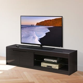 Furinno FVR Entertainment Center with 2 Doors and Glass Shelf, Wenge FVR1707WG