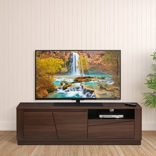 Furinno FVR Entertainment Center with 2 Doors and 1 Drawer, Walnut FVR7296