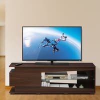 Furinno FVR Entertainment Center with 1 Drawer and Glass Shelf, Walnut FVR7294WN
